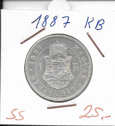 1 Gulden Forint 1887 KB Silber Franz Joseph