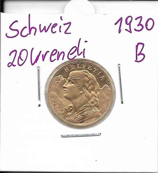 20 Franken 1930 Vreneli Schweiz Gold