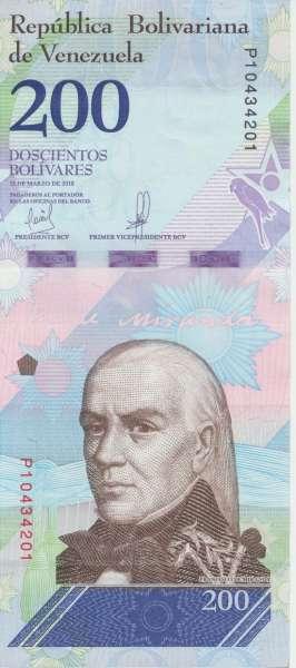 Venezuela – 200 Bolivares 13.3.2018, (P.107) Erh. UNC