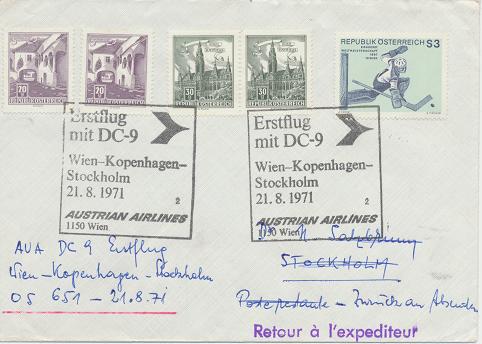 Erstflug Aua DC-9 Wien - Kopenhagen - Stockholm 21.8.1971