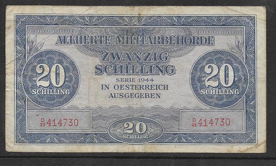 20 Schilling 1944 Ank 244 Pick 107 Alliierte Militärbehörde