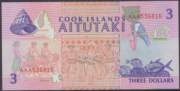 Cook Islands – 3 Dollars (1992) (Pick 7) Erh. UNC