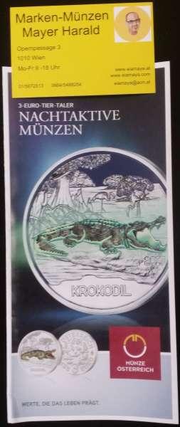 ANK Nr. 03 Flyer FOLDER ZU DER 3 EURO MÜNZE Tiertaler Krokodil 2017