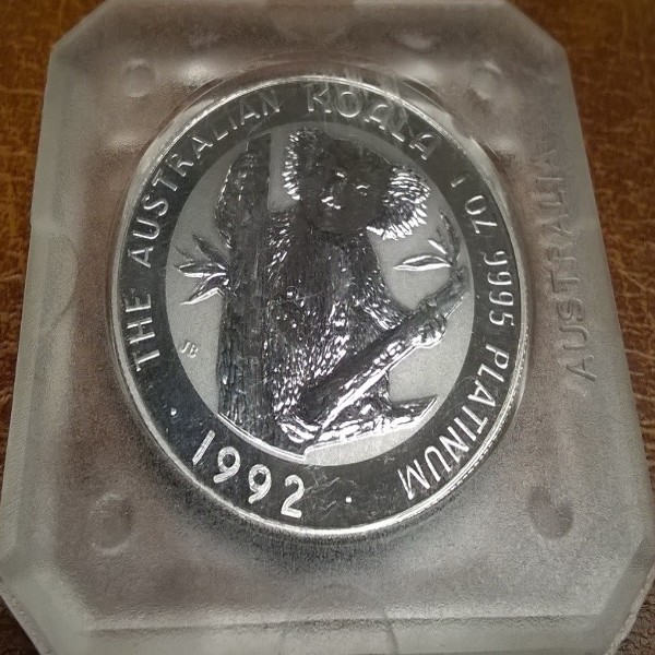 1 unze Platin Australien Koala 1992 100 Dollars