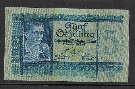 5 Schilling 1 Juli 1927 Ank.Nr.218 Nr.1002 261516 ungebraucht