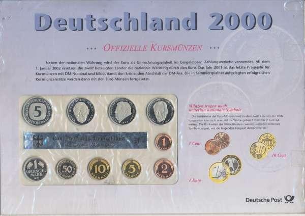 Deutschland 2000 J Kursmünzen KMS Coinset Deutsche Post