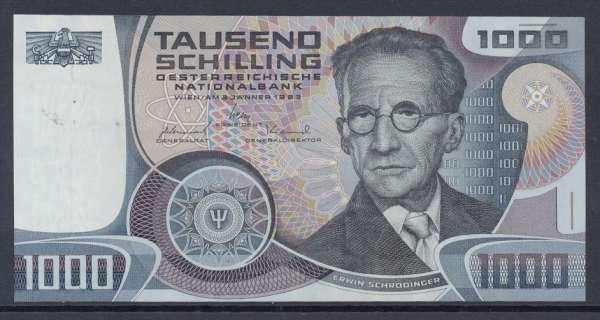 1000 Schilling 3.1.1983 Erwin Schrödinger Ank.285 Bankfrisch unc. NR: D490944A Pick