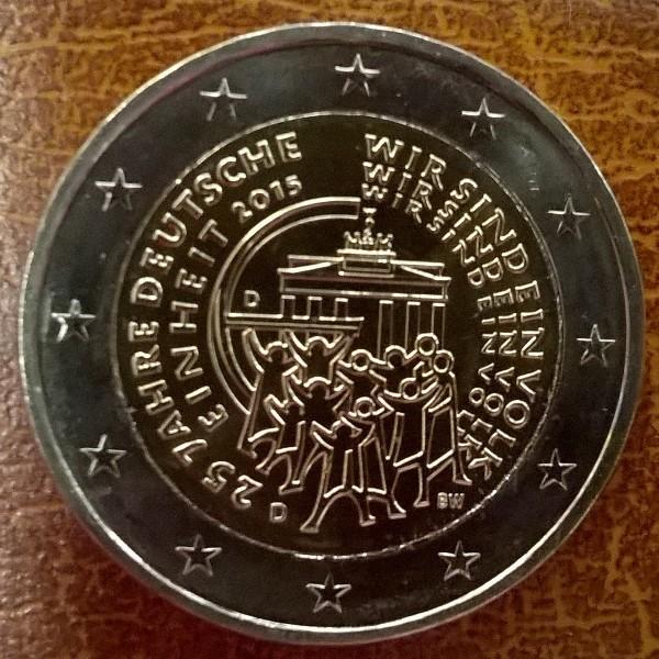 2 Euro Deutschland 2015 25 Jahre Deutsche Einheit alle 5 Prägestätten