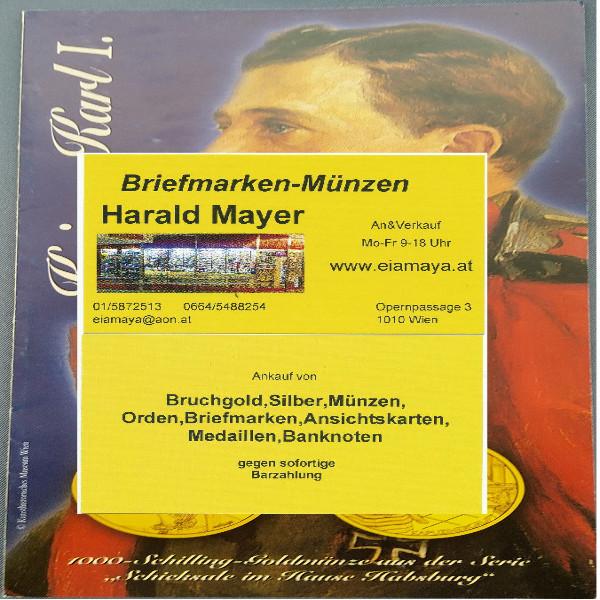 Kaiser Karl I 1000 Schilling Gold 1999 - nur Flyer Folder