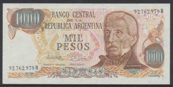 Argentinien – 1000 Pesos (1976-83) (P.304) Erh. UNC