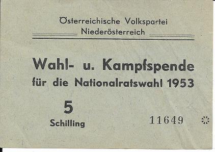 Wahl und Kampfspende Nationalratswahl 1953 5 Schilling ÖVP Niederösterreich