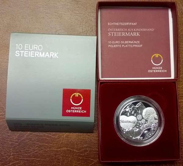 10 Euro Silber 2012 Die Steiermark PP ANK Nr. 21