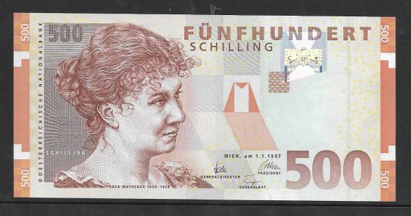 500 Schilling 1.1.1997 Rosa Mayreder Erh. unc. 1 Nr. AC 381005 U Pick 154