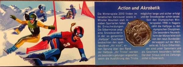 5 Euro Silber 2010 Winterspiele 2 Kurierfolder ANK Nr.16c+17c