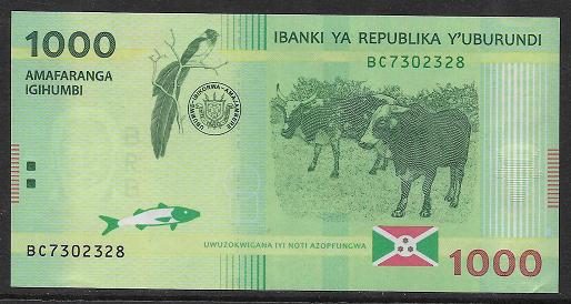 Burundi- 1000 Francs 2015 UNC - Pick 51