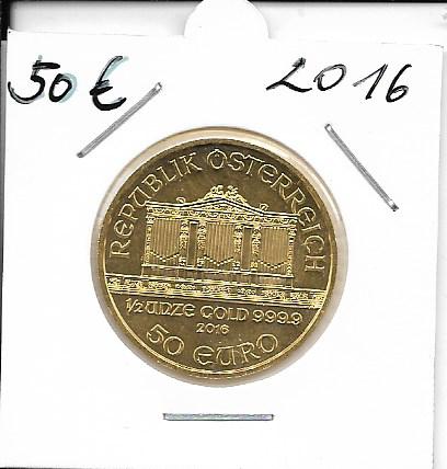 2016 Philharmoniker 1/2 unze 50 Euro 15,55 Gramm