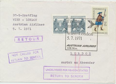 Erstflug Aua DC-9 Wien - London 5.7.1971