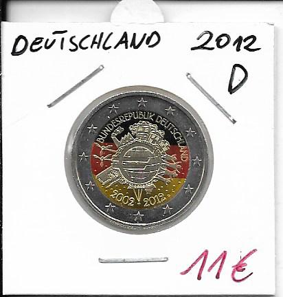 2 Euro Deutschland 2012 10 Jahre Euro D Coloriert