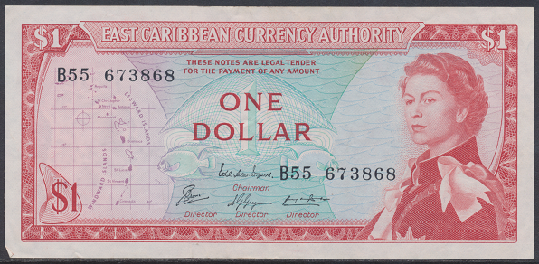 Eastern Caribbean – 1 Dollar (1965) (Pick 13) Erh. Gebraucht