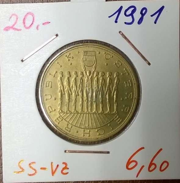 20 Schilling 1981 Männergruppe ss/vz