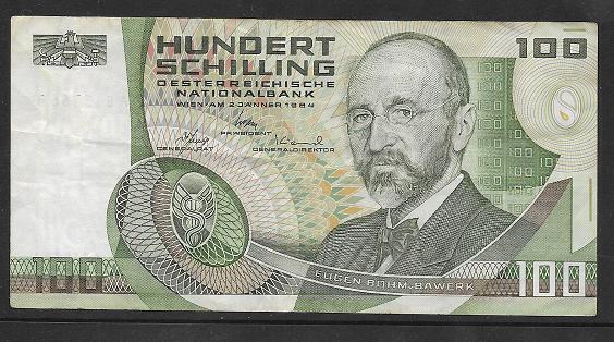 100 Schilling 2.1.1984 Eugen Böhm v. Bawerk Ank. 287b gebrauchtNr.AE15766B Pick 150