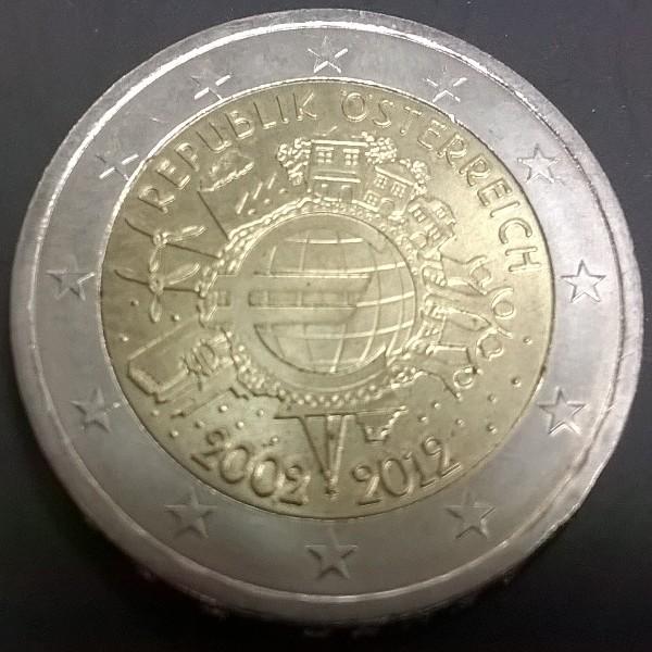 2 Euro Österreich 2012 10 Jahre Euro
