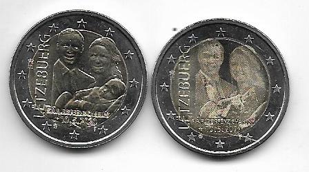 2 x 2 Euro Luxemburg 2020 Geburt von Prinz Charles -Relief + Fotoprägung