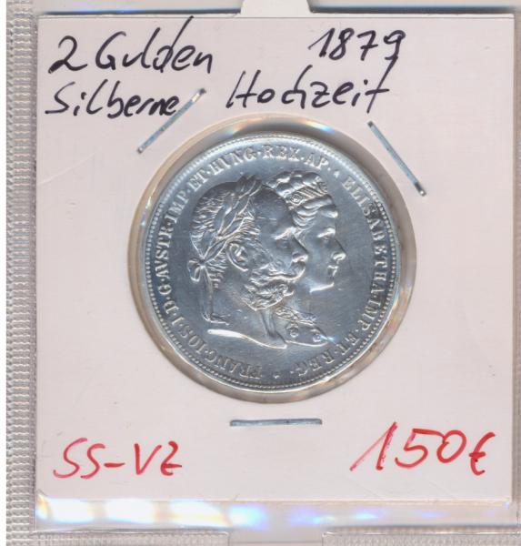 2 Gulden Silberhochzeit 1879 Silber Franz Joseph I