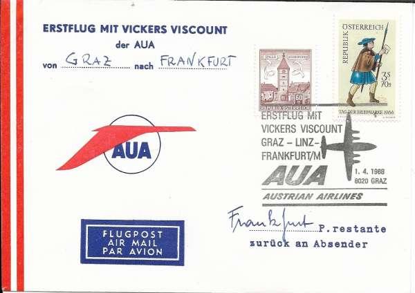 1 Direktflug AUA Graz- Frankfurt 1.04.1968