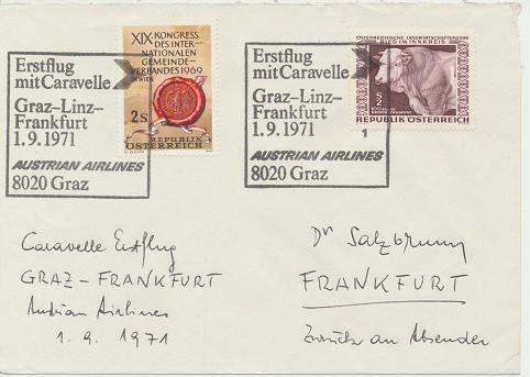 Caravelle Erstflug Aua Graz - Linz - Frankfurt 1.9.1971