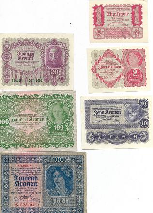 1,2,10,20,100 und 1000 Kronen Kassenfrisch 1922