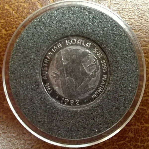 1/20 unze Platin Australien Koala 1992 5 Dollars