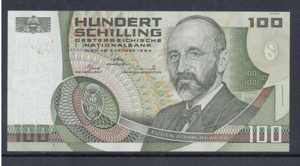 100 Schilling 2.1.1984 Eugen Böhm v. Bawerk Ank. 287a Erh.1 Nr.E096164V Pick 150