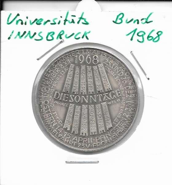 1968 Kalendermedaille Jahresregent Universität s Bund Innsbruck Bronze versilbert