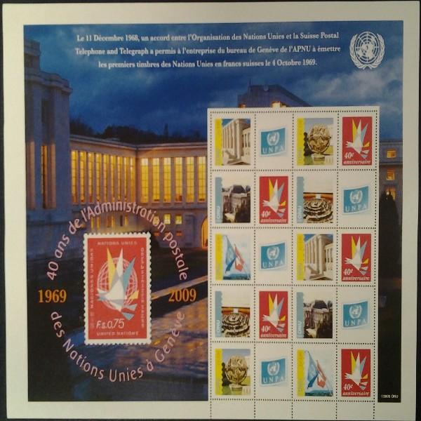 UNO GENF -GRUSSMARKEN Bogen 40 Jahre 2009 Postfrisch Neu 1 Auflage