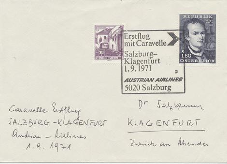 Caravelle Erstflug Aua Salzburg - Klagenfurt 1.9.1971