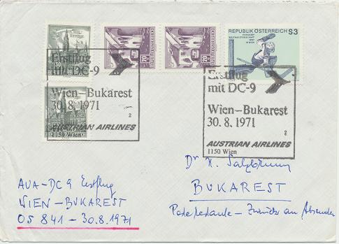 Erstflug Aua DC-9 Wien - Bukarest 30.8.1971