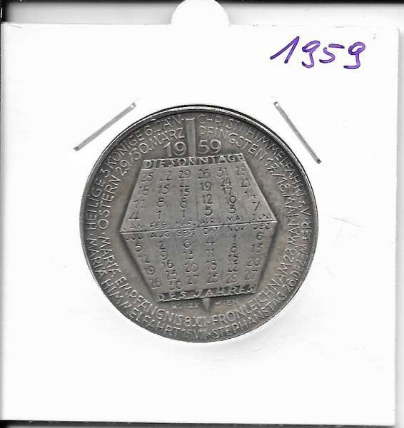 1959 Kalendermedaille Jahresregent Universität s Bund Innsbruck Bronze versilbert-Copy