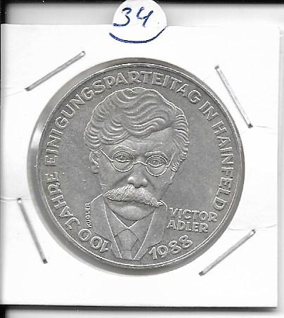 ANK Nr. 34 100 Jahre Einigungsparteitag in Hainfeld Viktor Adler 1988 500 Schilling Silber Normal