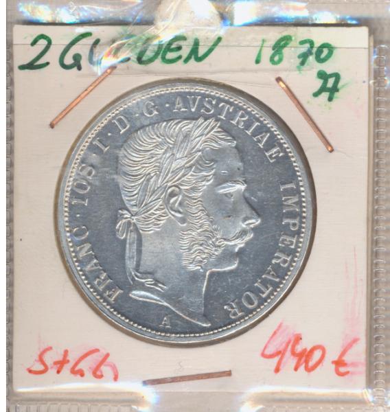 2 Gulden 1870 Silber Franz Joseph I