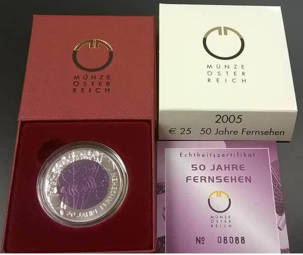 Niob 2005 25 Euro 50 Jahre Fernsehen Niob Silber