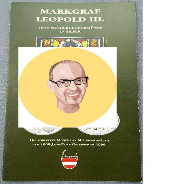 1996 100 Schilling Silber - Markgraf Leopold III nur Flyer Folder