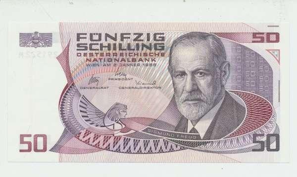 50 Schilling 2.1.1986 Sigmund Freud Erh.1unc. L 291522 M Ank Nr.288 Pick 149