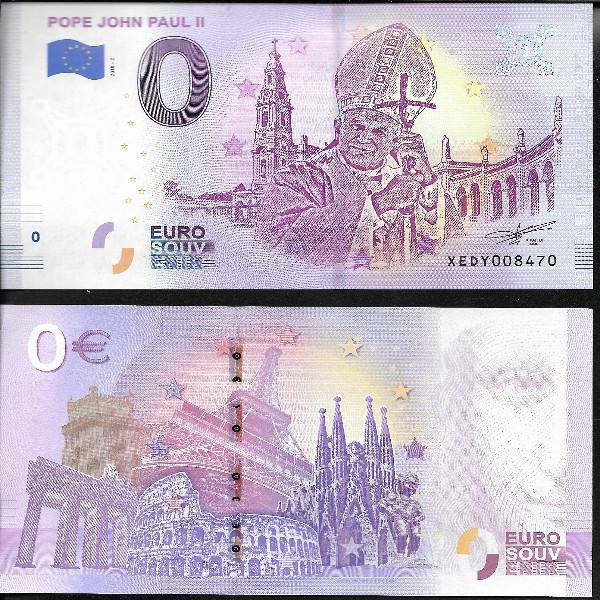 0 Euro Schein 2018 Vatikan Papst John Paul II Unc
