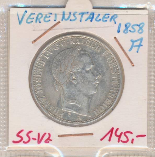 1 Vereins-Taler 1 1/2 Gulden 1858 A Silber