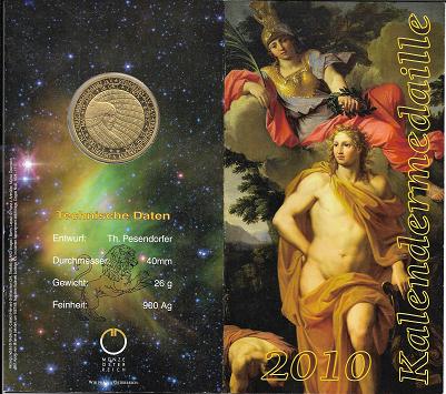 2010 Kalendermedaille Jahresregent Silber vergoldet Blister