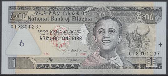 Äthiopien – 1 Birr (2000) (Pick 46) Erh.