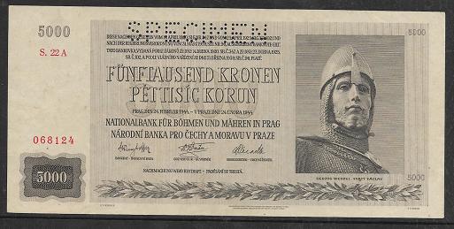 Protektorat Böhmen und Mähren 5000 Korun 24.2.1944 Specimen