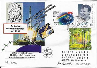 Raketenpost GWF WAG mit Startprotokoll Nr.5/10 50 Jahre Juri Gagarin 12.4.1961