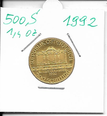 1992 Philharmoniker 1/4 Unze 500 Schilling ATS 7,78 Gramm